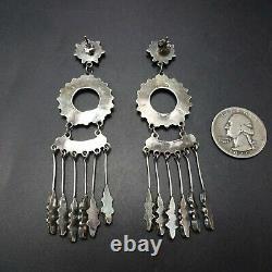 Pretty 3.5 Long ZUNI Sterling Silver TURQUOISE Petit Point Chandelier EARRINGS