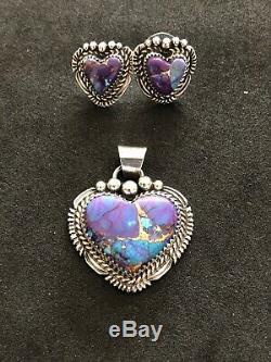Purple Mojave Turquoise Heart Pendant Earring Ster Silver Navajo Avin Joe 200