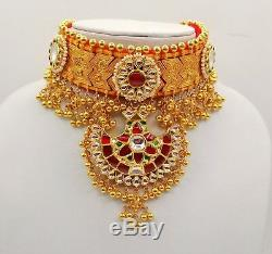 Rajasthan Indian Necklace Earring & Ring Yellow Gold 22k 22ct Kundan Jewelry