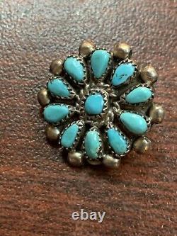 Rara Native American Navajo Handmade Turquoise Cluster Sterling Silver Earrings