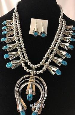 Rare Navajo Sterling Silver Squash Blossom SB Turquoise Necklace Naja Pen Yazzie