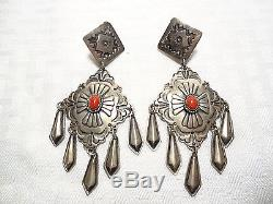 Rare SUNSHINE REEVES Vintage NAVAJO Sterling Silver & CORAL Clip-On EARRINGS