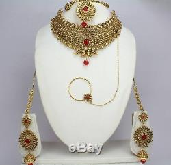 Red Gold Plated Dulhan Wedding Bridal Necklace Earring Indian jewelry Set women