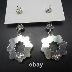 Renell Perry NAVAJO Sterling Silver TURQUOISE Cluster Dangle EARRINGS Pierced