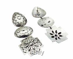 Rita Lee, Earrings, Dangles, Cross, Three Pieces, Silver, Navajo Handmade, 4.25