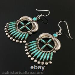 Ruby Gchachu Large Native American Zuni Silver Turquoise Needlepoint Earrings