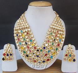 SOUTH INDIAN JEWELRY SET GOLD PLATED BRIDAL KUNDAN MEENA NECKLACE EARRINGS jm35