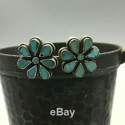 SPECTACULAR! Older Zuni Handmade Turquoise Cluster Earrings