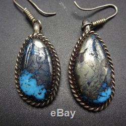 SPECTACULAR Vintage NAVAJO Sterling Silver & MORENCI TURQUOISE EARRINGS