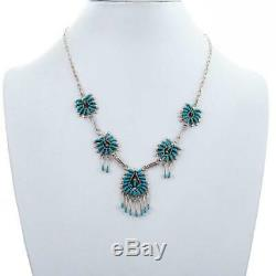 SQUASH BLOSSOM NECKLACE Set ZUNI Turquoise Sterling Silver Needlepoint Earrings