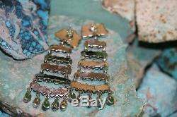 S. Tso Navajo Post Earrings With Kingman Turquoise, Sterling, Signed