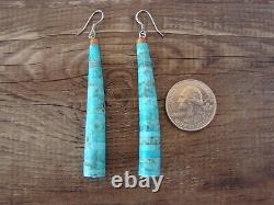 Santo Domingo Hand Beaded Tapered Turquoise Earrings by Pula Calabaza