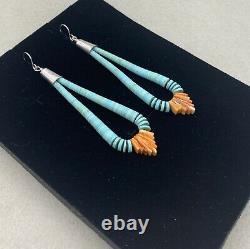 Santo Domingo Turquoise Spiny Oyster Heishi Jacla Earrings By Ronald Chavez