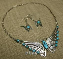 Sarah Dickens Native American Sterling Butterfly Turquoise Necklace & Earrings