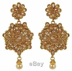 Set Indian Jewelry Necklace Gold Plated Bridal Wedding Bollywood Ethnic Earring