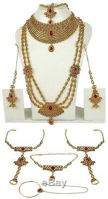 Set Necklace Indian Jewelry Gold Plated Fashion Wedding Bridal Bollywood Earring