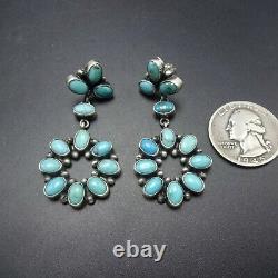 Sheila Tso NAVAJO Sterling Silver TURQUOISE Cluster Dangle EARRINGS Pierced