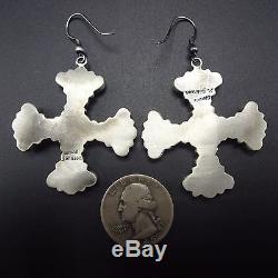 Signed NAVAJO Sterling Silver & TURQUOISE Cluster EARRINGS Santa Fe Cross