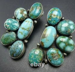 Signed NAVAJO Sterling Silver WATERWEB TURQUOISE Cluster EARRINGS Pierced