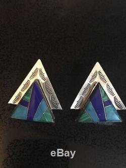Signed Navajo Indian Sterling Silver Inlaid Turquoise Vintage Clip Earrings