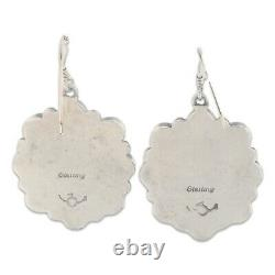 Signed Navajo Old Pawn Sterling Silver Natural Coral Cluster Dangle Earrings