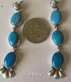 Signed Navajo Sterling Silver Three-Stone Turquoise Post Earrings