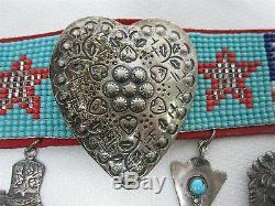 Signed T. Foree Hunsicker Sterling Silver Native American Beaded Choker Earrings