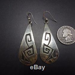 Signed Vintage HOPI Sterling Silver OVERLAY EARRINGS Long 2.5 Dangle