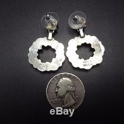 Signed Vintage NAVAJO Sterling Silver & CORAL Petit Point Cluster EARRINGS