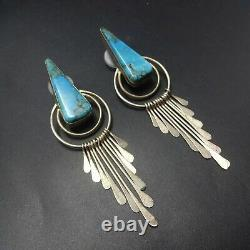 Signed Vintage NAVAJO Sterling Silver Dangle Tabs TURQUOISE EARRINGS Pierced
