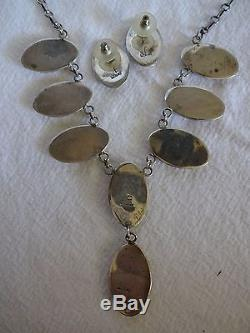 Signed Vintage NAVAJO Sterling Silver Shadowbox TURQUOISE Necklace Earrings SET