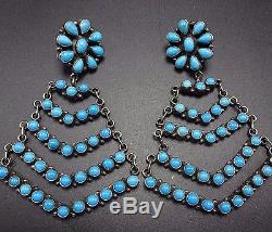 Signed Vintage NAVAJO Sterling Silver & TURQUOISE Cluster Chandelier EARRINGS