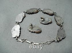 Signed Vintage Navajo Lapis Sterling Silver Leaf Bracelet Earrings Set