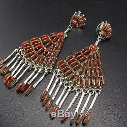 Signed Vintage ZUNI Sterling Silver & CORAL Needlepoint Chandelier EARRINGS