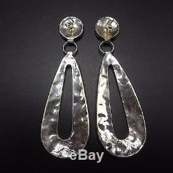 Signed Vintage ZUNI Sterling Silver & Gilson Opal EARRINGS Carmichael Haloo