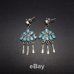 Signed Vintage ZUNI Sterling Silver & TURQUOISE Cluster Dangle EARRINGS