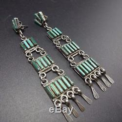 Signed Vintage ZUNI Sterling Silver & TURQUOISE Needlepoint Ladder EARRINGS