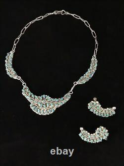 Signed Zuni Turquoise Petit Point Sterling Silver Necklace Earrings Demi Parure