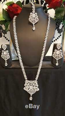 Silver Clear Bollywood Indian Necklace Earrings Tikka Jewellery Set