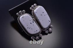 Silver & White Buffalo Turquoise Navajo Necklace & Earrings Set 9M16A
