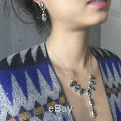 Simple New Lander Set of Choker Necklace with 2-stone Matching Earrings