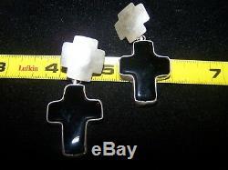 Southwestern Sterling Silver Double Cross Onyx EarringsRocki Gorman