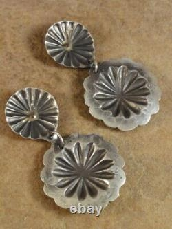 Sterling Silver Concho Earrings by Vincent Platero Navajo