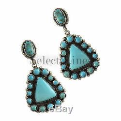 Sterling Silver Large Turquoise Cluster Earrings by Navajo Artist Eleanor Largo