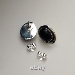 Sterling Silver Navajo Teardrop Black Onyx Squash Blossom Necklace With Earrings