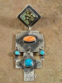 Sterling Silver Spiny Oyster & Turquoise Cross Earrings Rita Lee Navajo