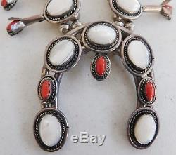 Sterling Silver Squash Blossom Necklace withEarrings, Coral & Mother of Pearl