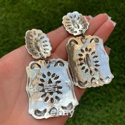 Sterling Silver Statement Earrings Handmade by Navajo Darryl Becenti