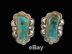 Sterling Silver & Turquoise Large Free Form Turquoise Earrings Navajo Handmade
