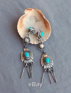 Sterling Silver Turquoise Long Drop Dangle Marcella James Thunderbird Earrings